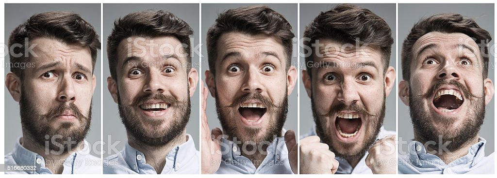 Set of young man\'s portraits with happy and surprised emotions on...