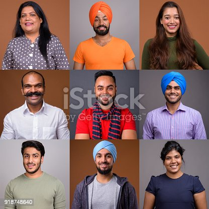 667207410 istock photo Collage Of Happy Indian People Smiling 918748640