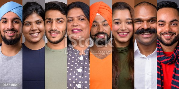 667207410 istock photo Collage Of Happy Indian People Smiling 918748642