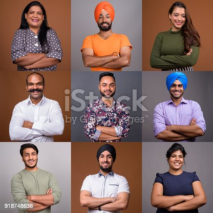667207410 istock photo Collage Of Happy Indian People Smiling With Arms Crossed 918748636
