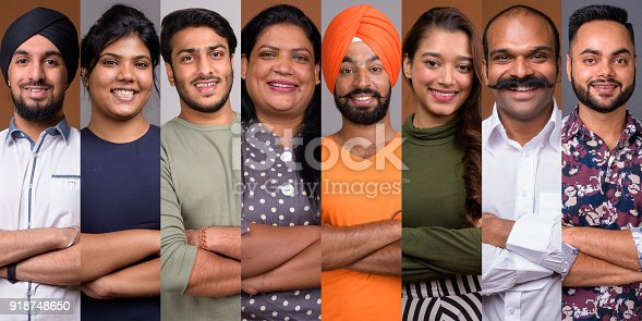 667207410 istock photo Collage Of Happy Indian People Smiling With Arms Crossed 918748650