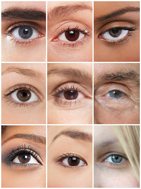 Collage of human eyes stock photo