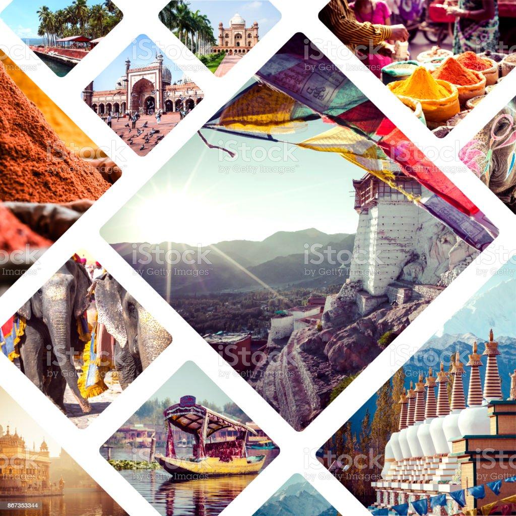 collage background travel india asia architecture bodhgaya khajuraho delhi