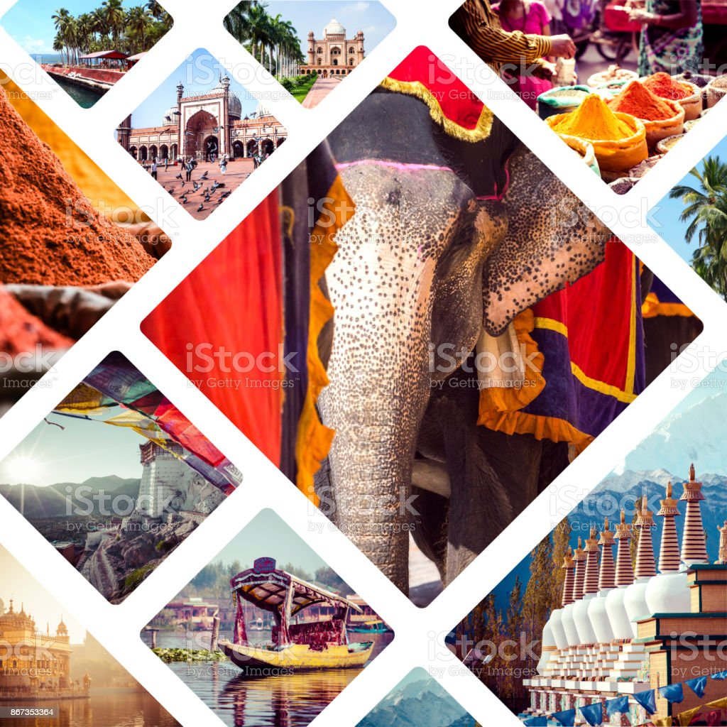 Collage of India images - travel background stock photo