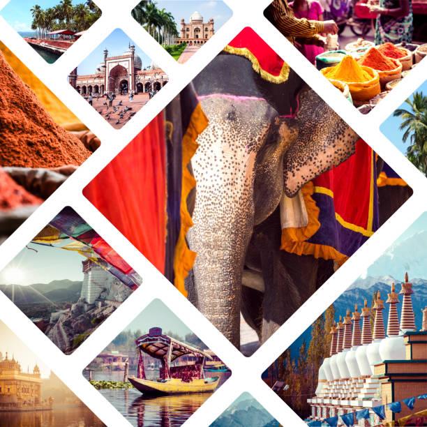 colagem de imagens da índia - fundo de viagens - montagem - fotografias e filmes do acervo