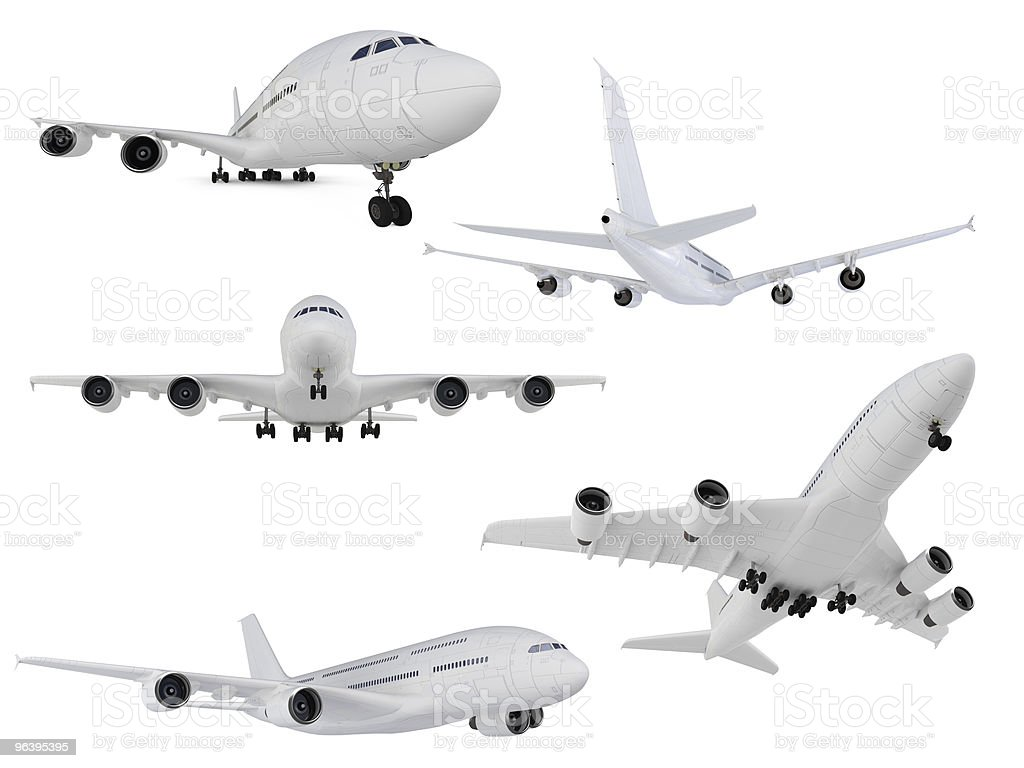Collage of isolated airplane - Royalty-free Air Vehicle Stock Photo