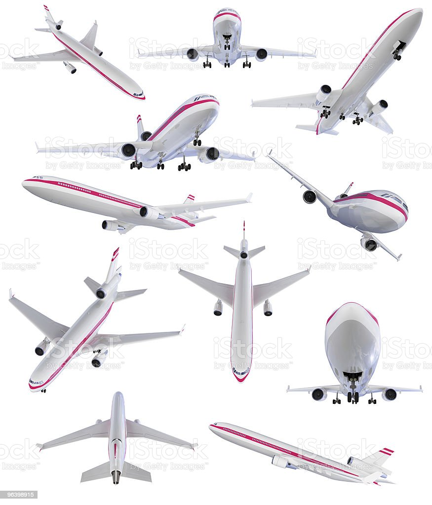 Collage of isolated airplane stock photo