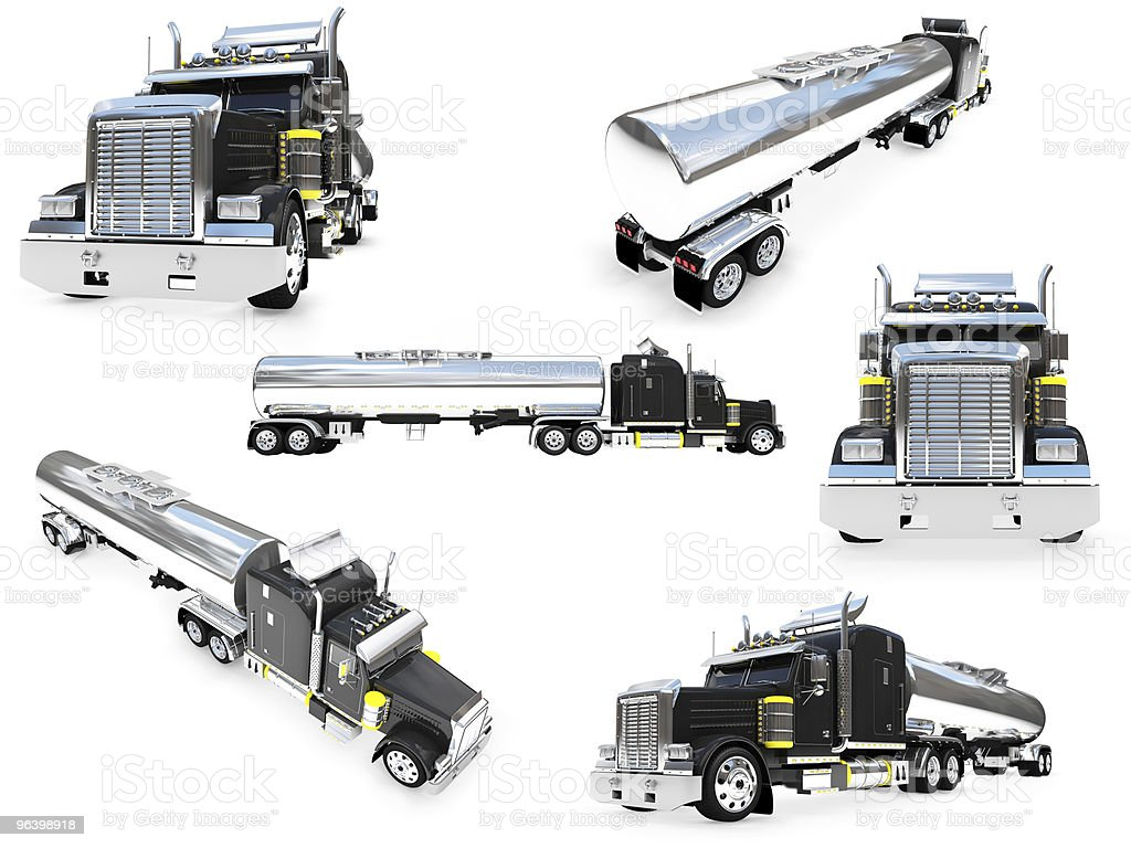 Collage of isolated big truck - Royalty-free Black Color Stock Photo