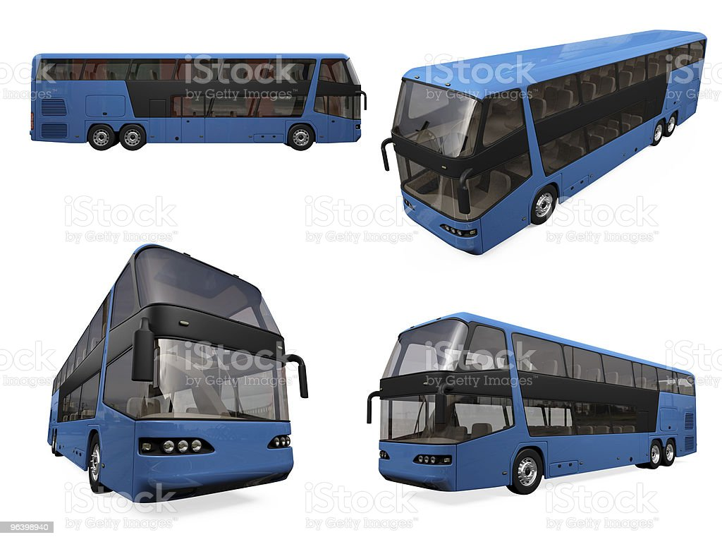 Collage of isolated bus - Royalty-free Blue Stock Photo