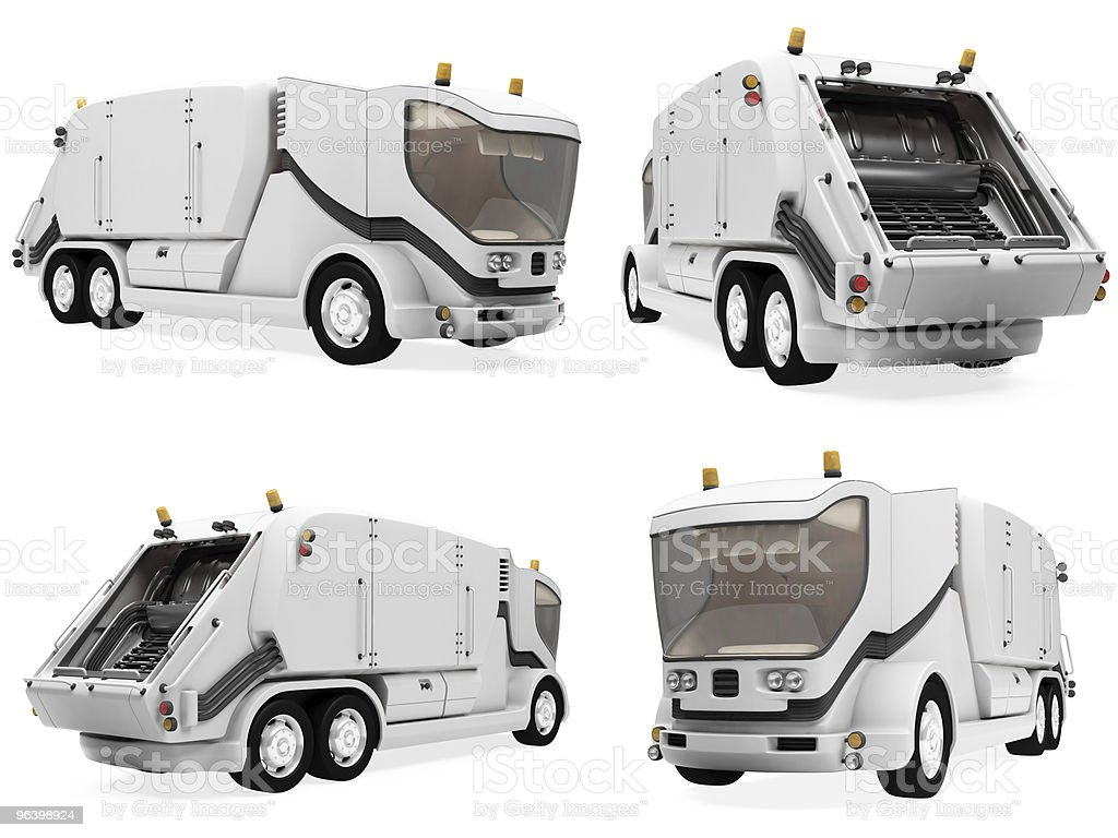 Collage of isolated concept trash truck - Royalty-free Cargo Container Stock Photo