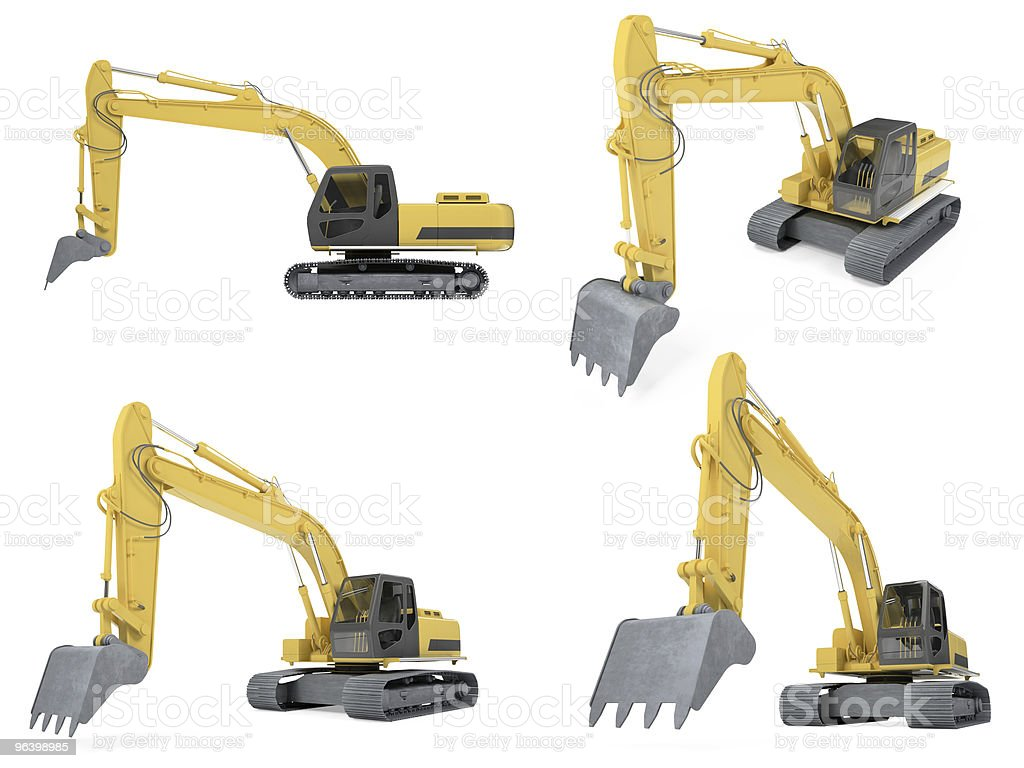Collage of isolated construction vehicle royalty-free stock photo