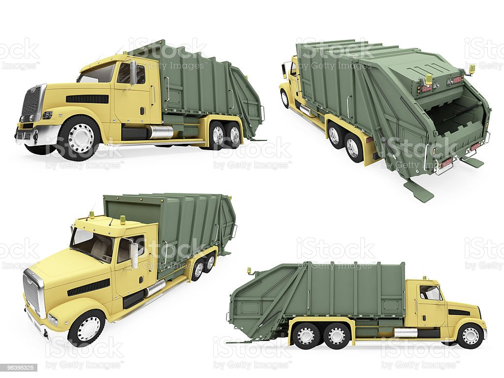 Collage of isolated dump truck - Royalty-free Cargo Container Stock Photo