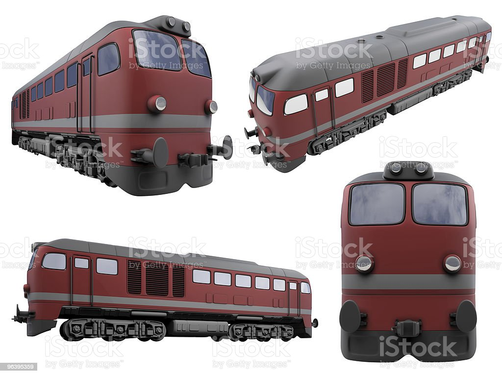 Collage of isolated train - Royalty-free Collection Stock Photo