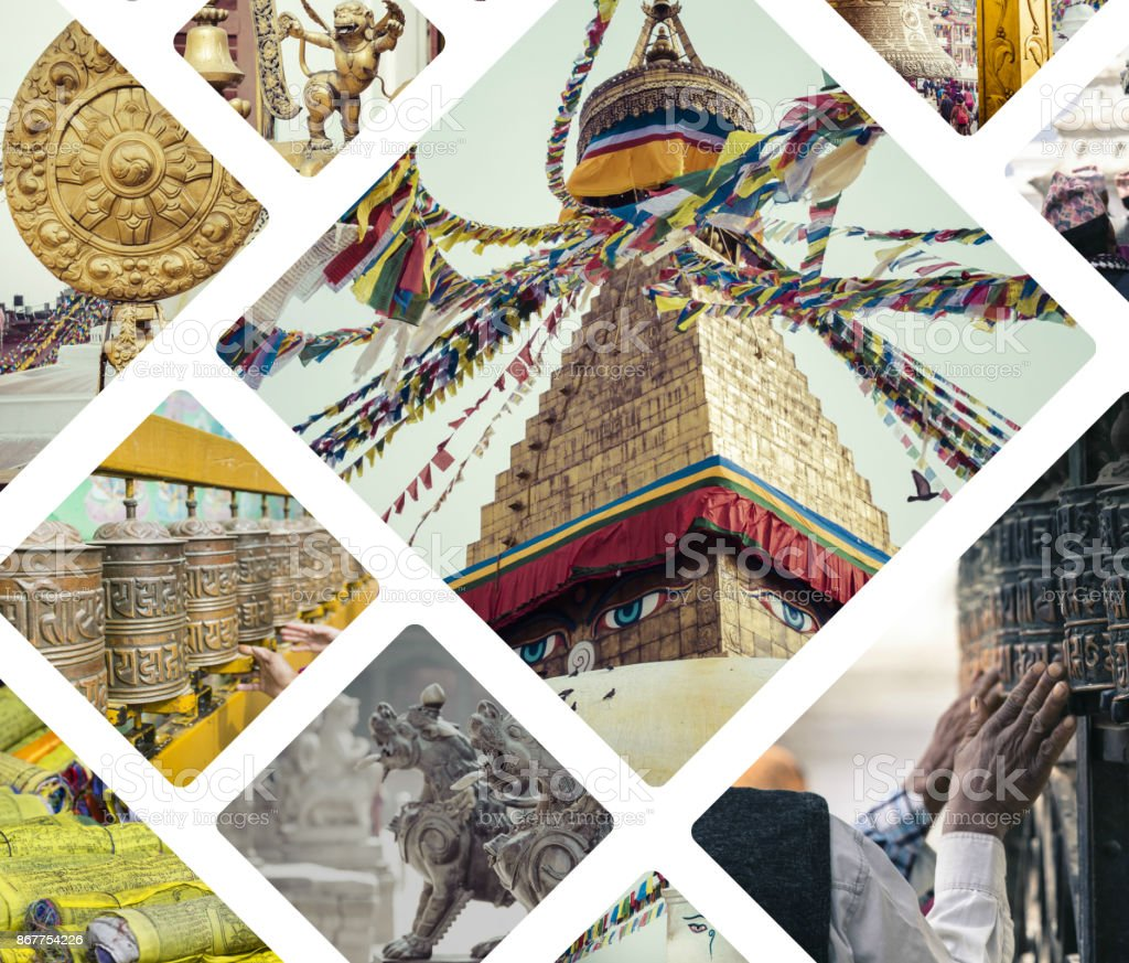 Collage of Kathmandu (Nepal) images - travel background (my photos) stock photo