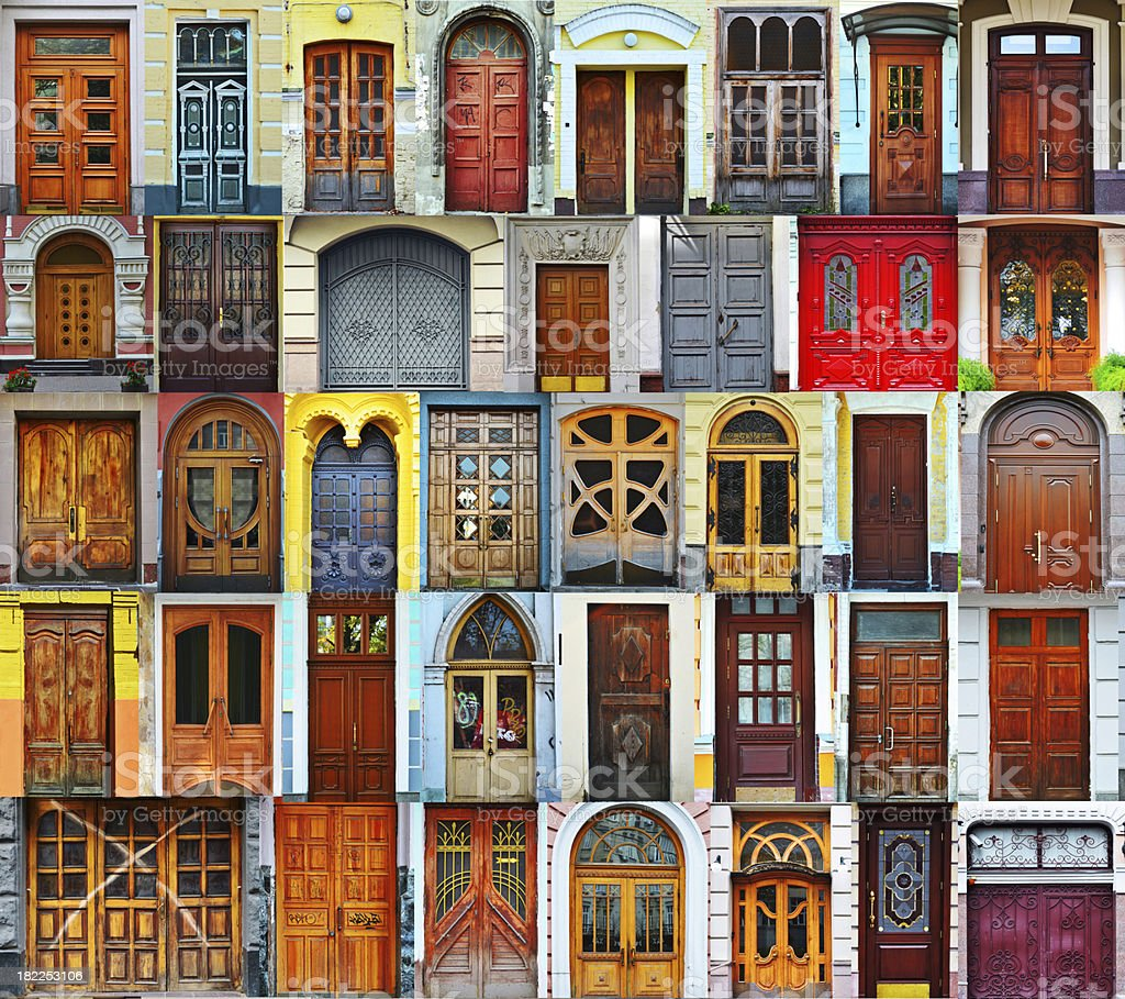 Collage of Kiev front doors,Ukraine royalty-free stock photo