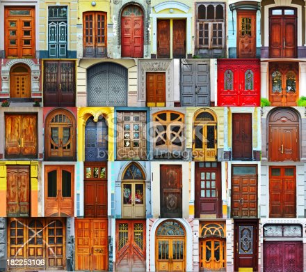 Collage of Kiev front doors