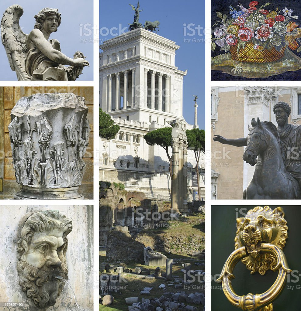 Collage of landmarks, Rome, Italy stock photo
