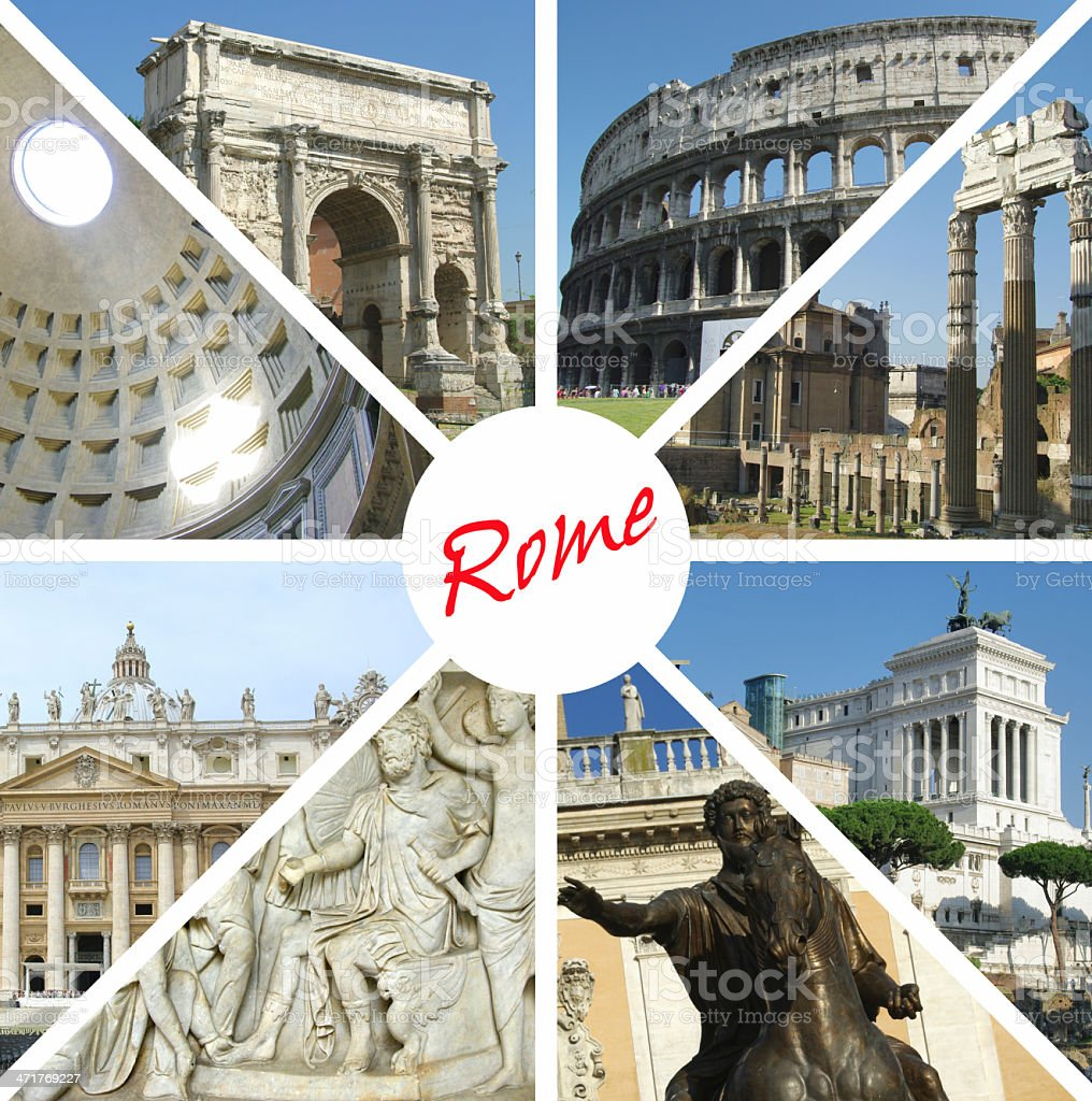 Collage of landmarks, Rome, Italy royalty-free stock photo