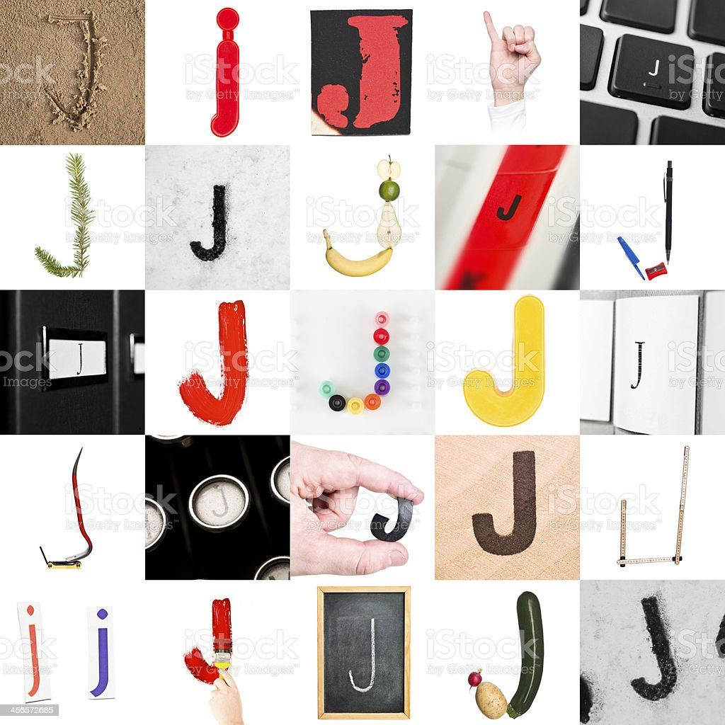 Collage of Letter J stock photo