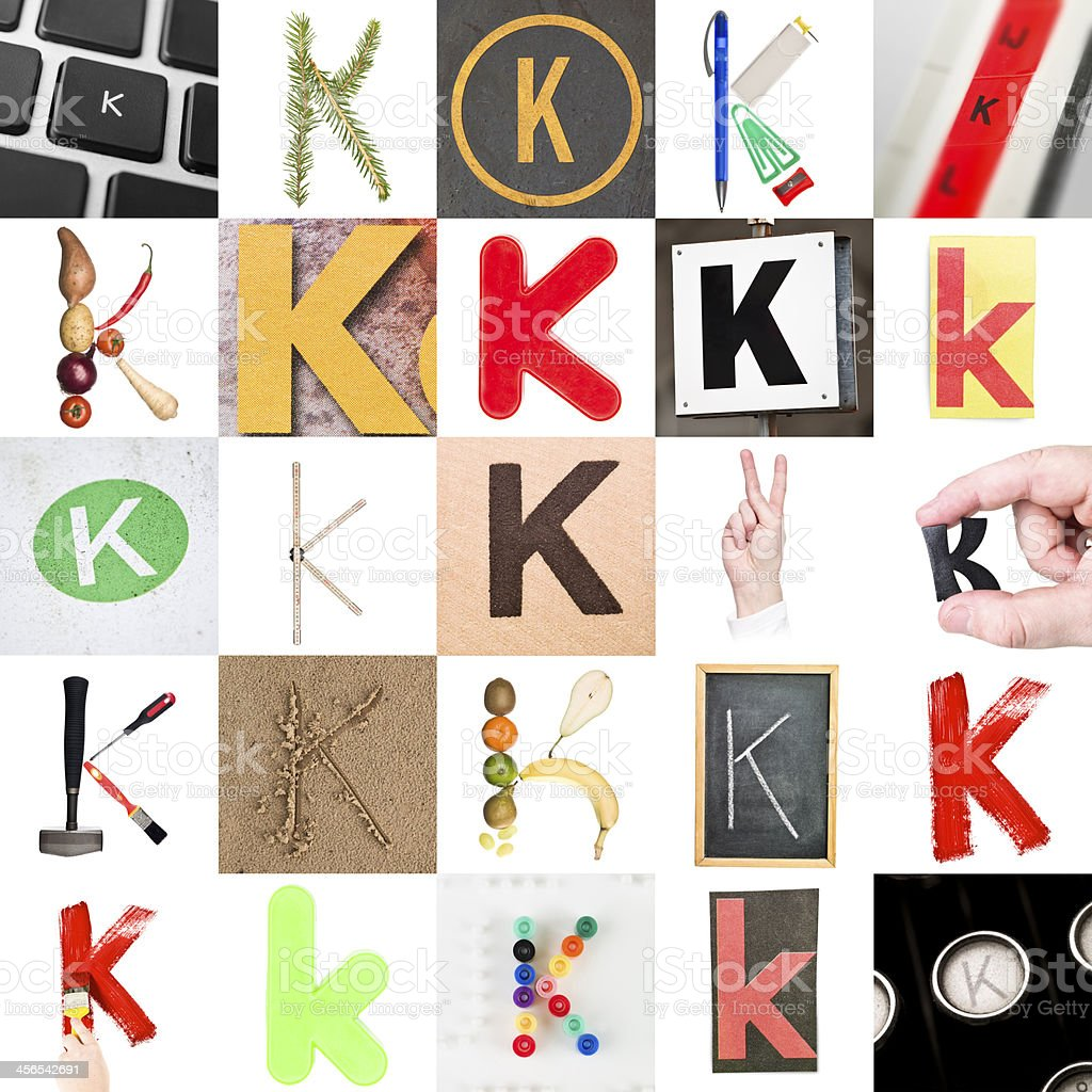 Collage of Letter K stock photo