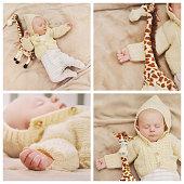 sleeping cute newborn baby, maternity concept, soft image of beautiful family