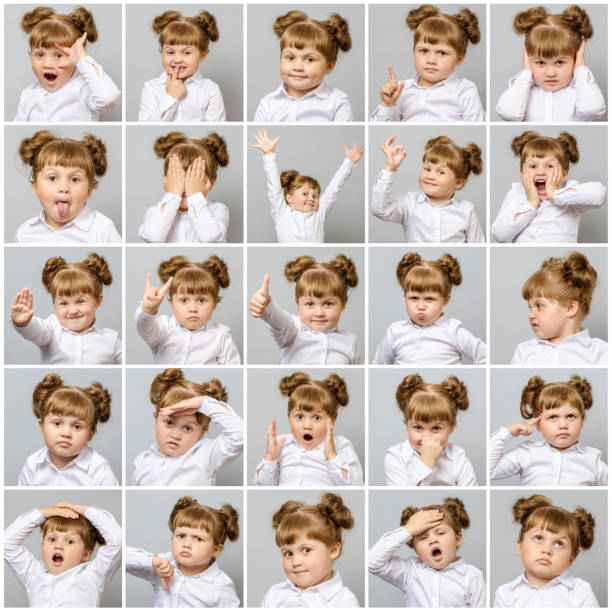 collage of little cute girl with different emotions and gestures on gray background - excited emoji stock photos and pictures