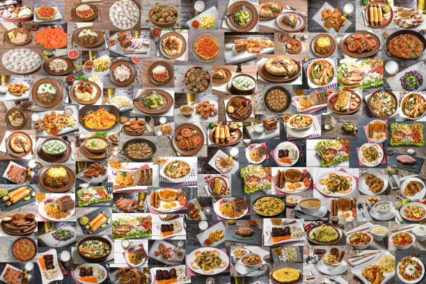 Collage of lots of food Collage of a large number of food from different countries of the world abundance stock pictures, royalty-free photos & images