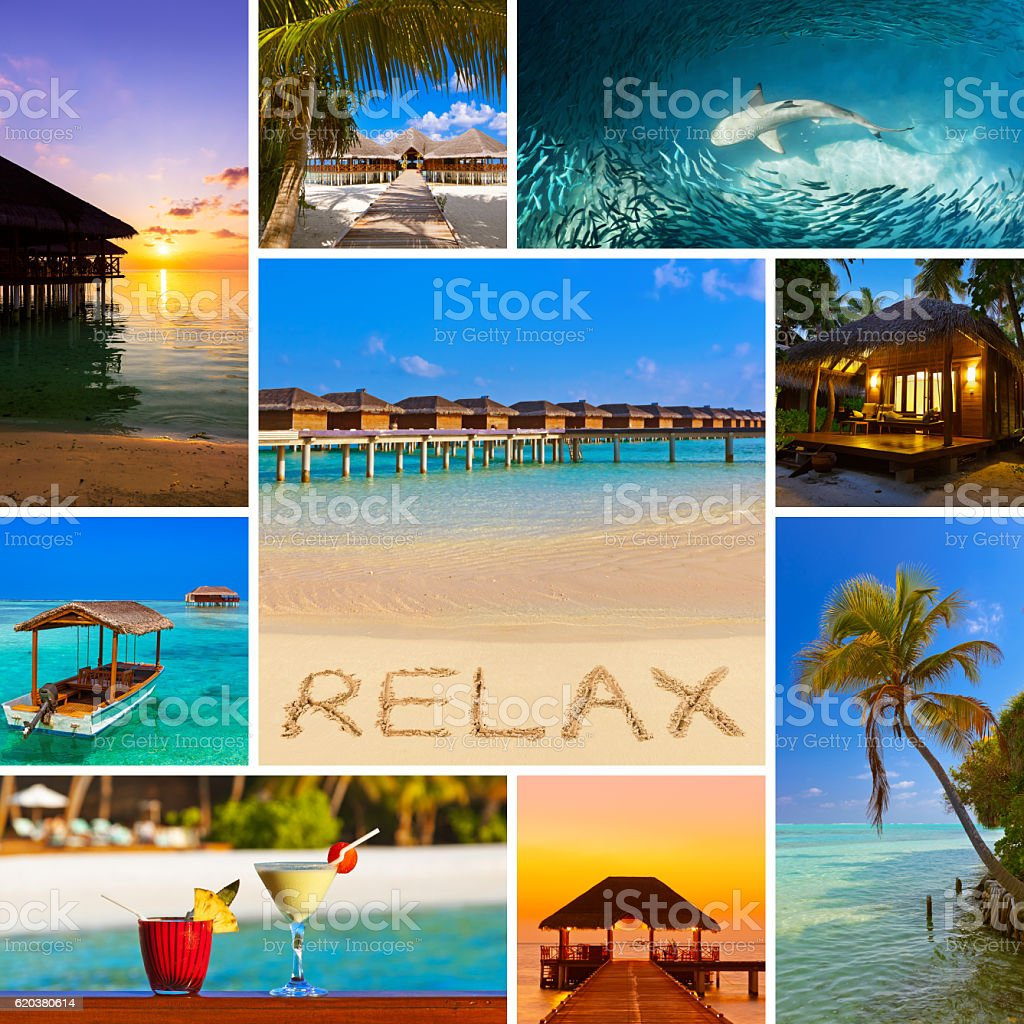 Collage of Maldives beach images (my photos) foto de stock royalty-free
