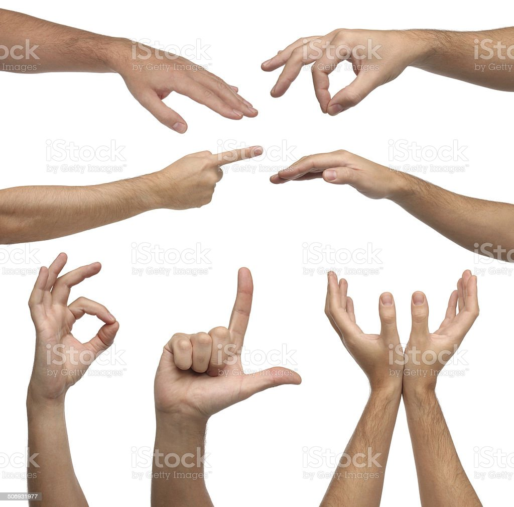 Collage of male hands signs on white background stock photo