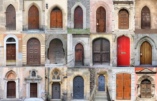 Collage of medieval front doors Collage of medieval front doors lancet arch stock pictures, royalty-free photos & images