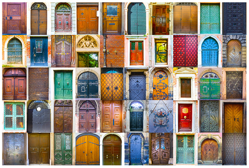 Collage of medieval front doors at Prague, Czech Republic, Venice, Italy and Salzburg, Austria. Europe ancient, antique, oldest, older, elderdoors doors