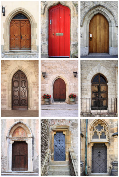 Collage of medieval front doors with lancet arch Collage of medieval front doors with lancet arch lancet arch stock pictures, royalty-free photos & images