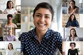 istock Collage of multi ethnic women webcam view 1220226081