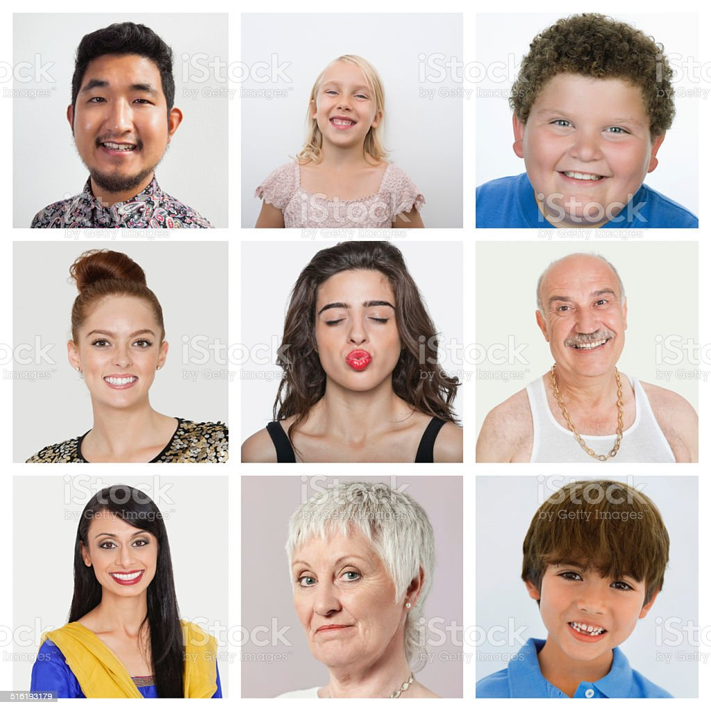 Collage of multiethnic people stock photo