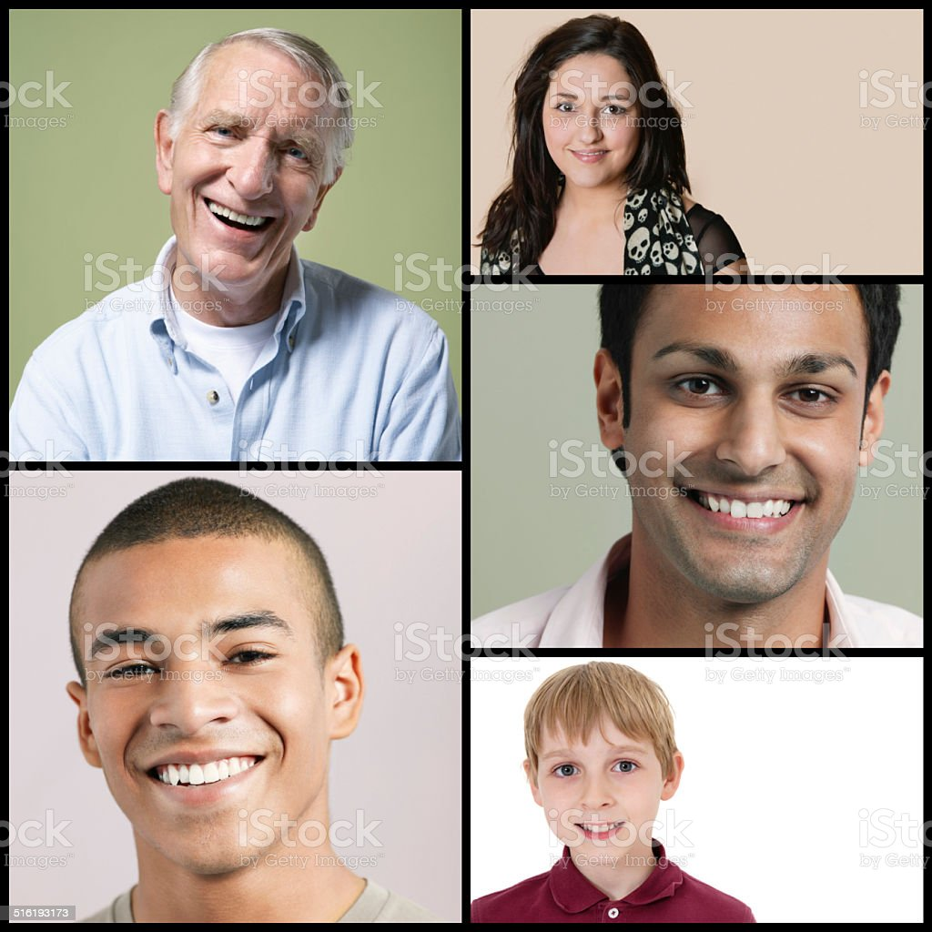Collage of multi-ethnic people smiling stock photo