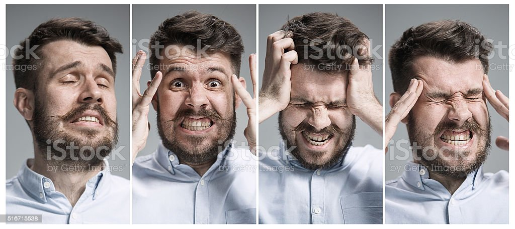 Collage of negative emotions stock photo