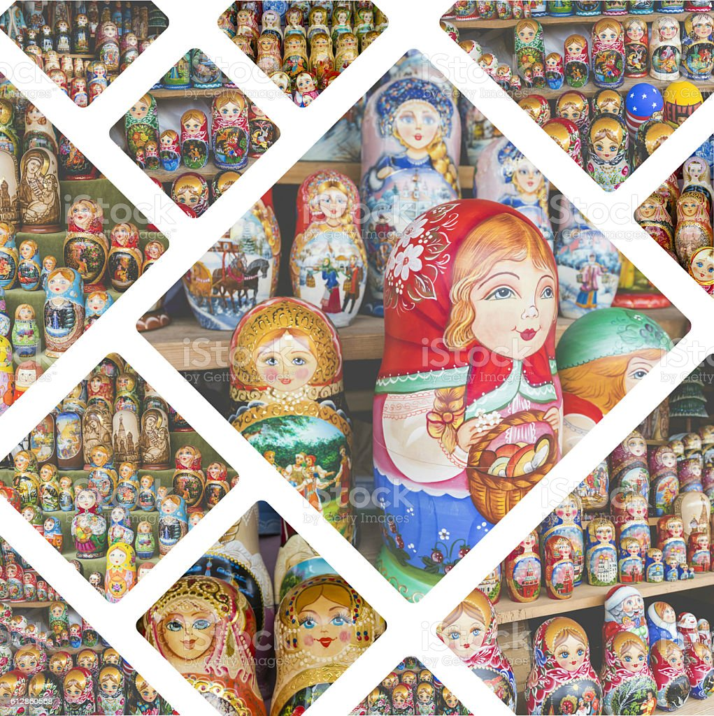 Collage of Nesting dolls images - travel background (my photos) stock photo