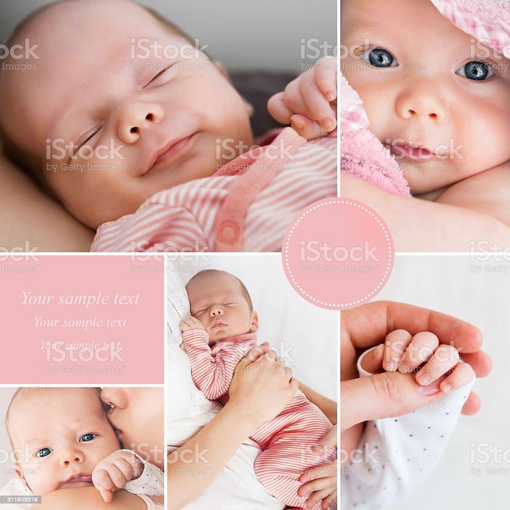 Collage of newborn baby's photos stock photo