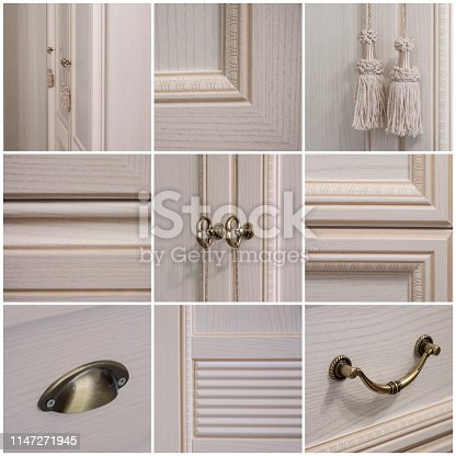 A collage of nine photos. Living room, dining room, bedroom.The interiors of the light cabinet and decorative elements of Provence style.