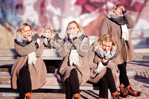 istock collage of one person with a cold in multiple positions 924990860
