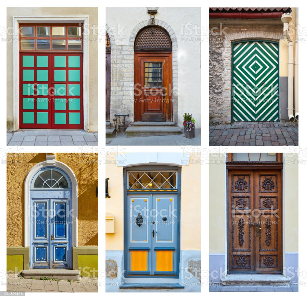 Collage of ornamental doors exterior royalty-free stock photo