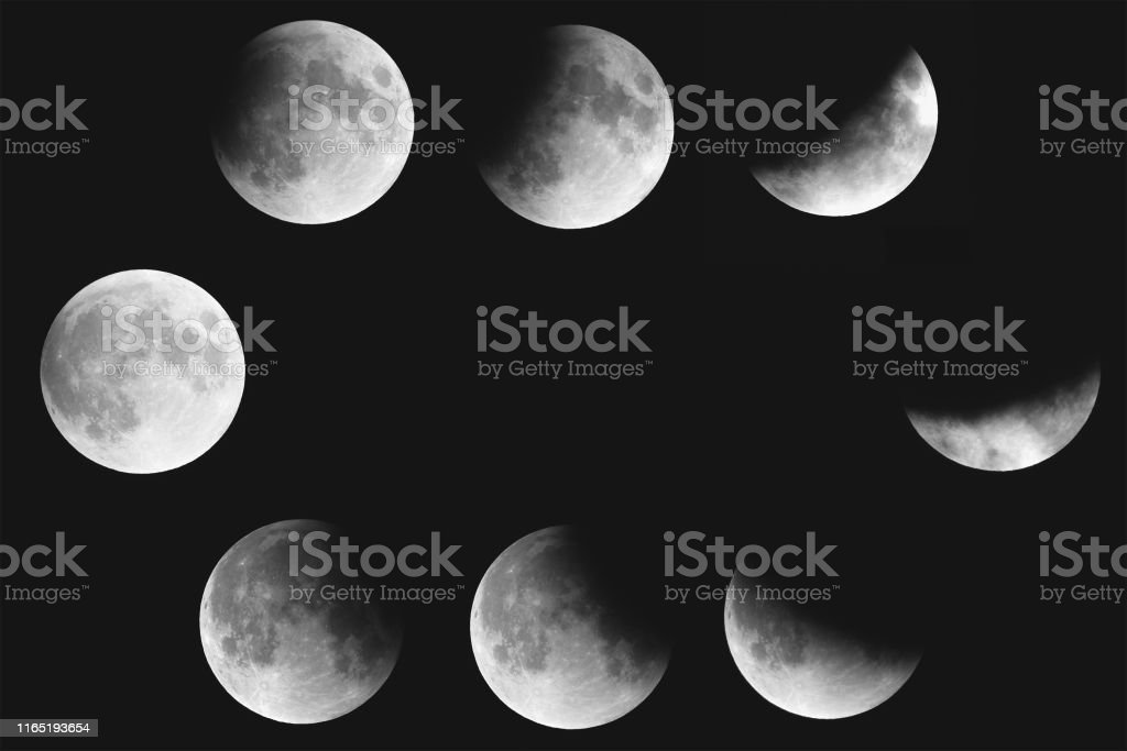 collage of partial lunar eclipse phases july 2019