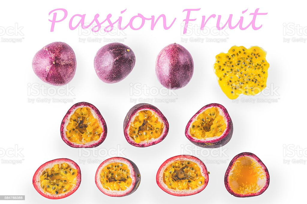 Collage of passion fruit on the white background – Foto
