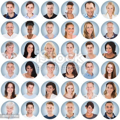 istock Collage Of People On Blue Background 855027394