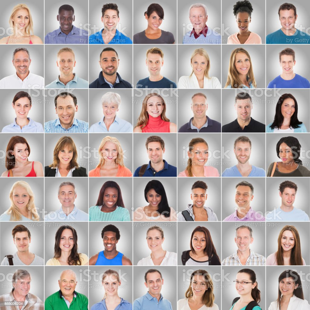 Collage Of People On Gray Background stock photo