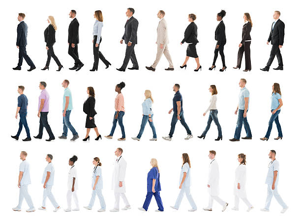 Collage Of People Walking In Line Collage Of People From Different Occupations Walking In Line Against White Background side view stock pictures, royalty-free photos & images