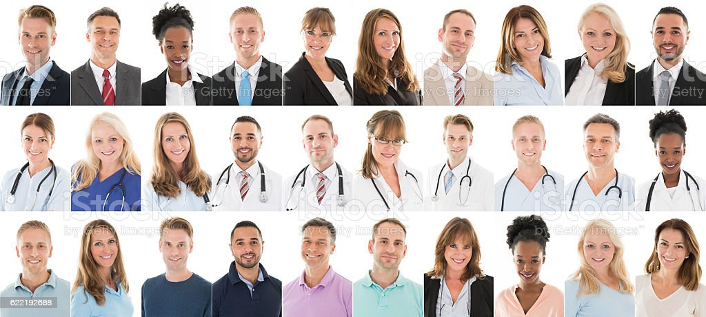 Collage Of People With Different Occupation stock photo