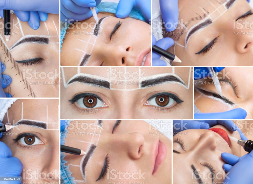 Collage Of Permanent Makeup Procedure For Eyebrows And Lips Of