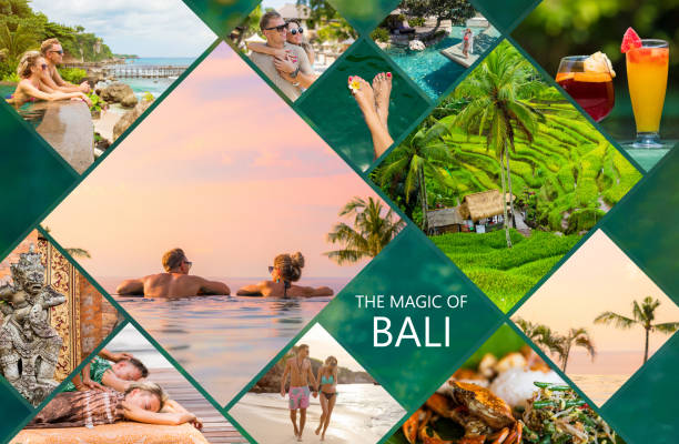 Collage of photos from beautiful Bali island in Indonesia stock photo