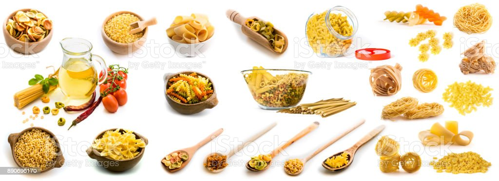 Collage of photos of different shapes of pasta in a variety of dishes stock photo